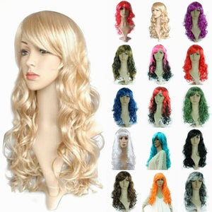 Fashion Women 50cm Long Curly Wig Cosplay Party Costume Hair Wig Synthetic Hair Heat Resistant Wig Wavy Full Curly Hair Wig