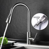 Kitchen Faucets Silver Single Handle Pull Out Kitchen Tap Single Hole Handle Swivel 360 Degree Water Mixer Tap