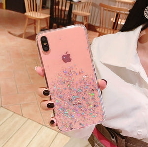 New Fashion Glitter Bling Sequins IPhone Case for Iphone 8 7 Plus 6 6s Epoxy Star Transparent Case for Iphone X XR XS MAX 10 Soft TPU Cover