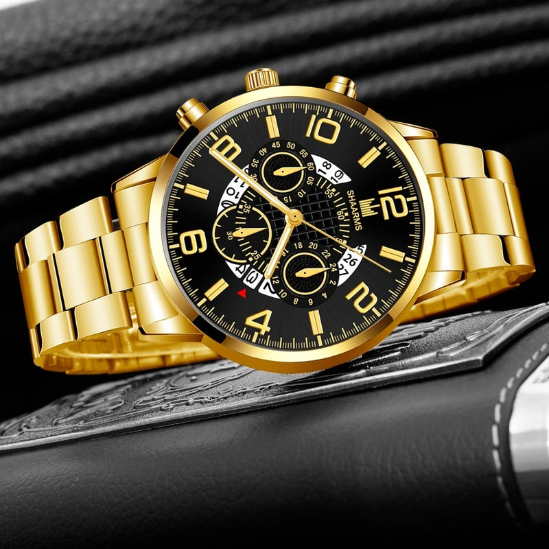 Luxury Brand Watches Men Watch Classic Faux Chronograph Quartz Watch Classy Stainless Steel Business Waterproof Wristwatch Reloj Hombre