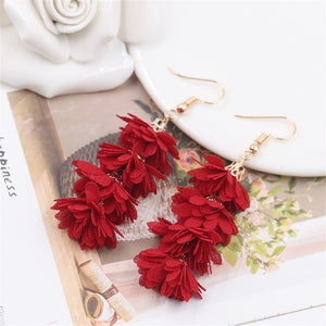 2019 New Fashion Cloth Flower Long Fringe Earring Boho Retro Tassel Drop Dangle Earrings Women Charm Party Engagement Earring Wedding Jewelry