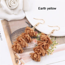 Load image into Gallery viewer, 2019 New Fashion Cloth Flower Long Fringe Earring Boho Retro Tassel Drop Dangle Earrings Women Charm Party Engagement Earring Wedding Jewelry