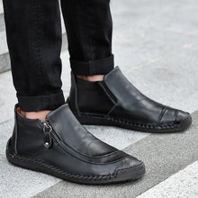 Load image into Gallery viewer, 2019 New Men Hand Stitching Slip-ons Leather Boots Cow Split Leather Loafers Flats Casual  Shoes(38-47)