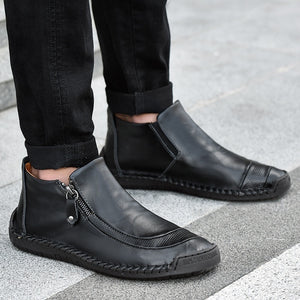 2019 New Men Hand Stitching Slip-ons Leather Boots Cow Split Leather Loafers Flats Casual  Shoes(38-47)