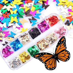 12Grids/Set Butterfly Shape Nail Flakes 3d Laser Glitter Sequin Nail Art Decorations