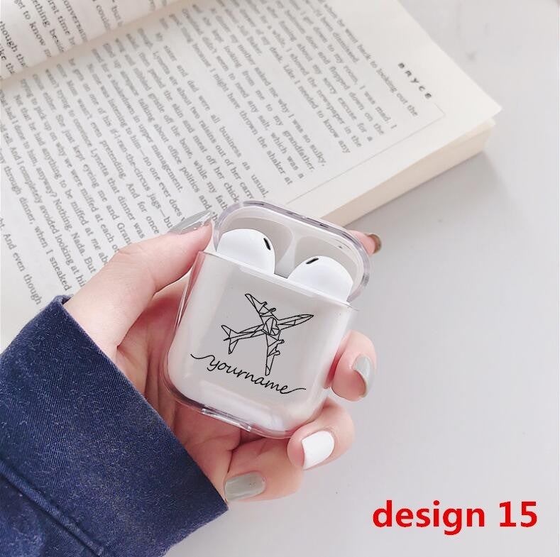 Custom Cute Case For Apple airpods Case DIY Customize Name Text Bluetooth Transparent Earphone Case For Airpods Headphone Hard Clear Case
