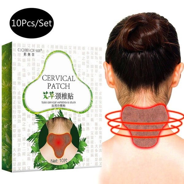 10Pcs/Set Cervical Vertebra Pain Relief Patch Self-Heating Sticker Moxibustion Wormwood Sticker Pain Relief