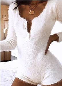 2019 Fashion Women Long Sleeve Bodysuits Sexy V Neck Skinny Jumpsuits Romper Autumn Winter Warm Fleece Tops Blouses