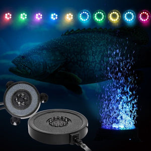 Aquarium Bubble Light LED Air Stone Color Changing Light Waterproof Fish Tank Bubble Lights Submersible Light Bar