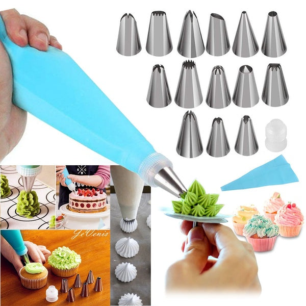 8/12/16PCS Cake Decorating Nozzles Kit Piping Tips Set Cupcake Decorating Supplies Kit Icing Nozzles Flowers Shaped, Frosting Bags and Tips Baking Supplies