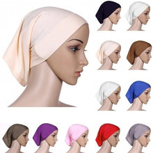 Load image into Gallery viewer, Muslimcap 20 Color Muslim Bonnet Hot Hijab Cotton Cover Headwrap Under Scarf Fashion Islamic Head Scarf Women 2019 New Cotton Muslim Headscarf Inner Hijab Caps Islamic Underscarf Ninja Hijab Scarf
