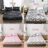 Marble Printed 1/3Pcs Elastic Fitted Sheet Deep 16 Inches Mattress Covers Set Twin Full Queen King 5 Size 6 Colors (Pillowcases Optional)
