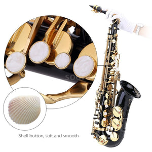 Ammoon Eb Alto Saxophone Brass Lacquered Gold E Flat Sax 82Z Key Type Woodwind Instrument with Cleaning Brush Cloth Gloves Strap Padded Case
