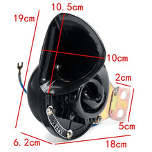 Load image into Gallery viewer, Loud 350DB 12V Black Electric Snail Horn Air Horn Raging Sound For Car Motorcycle Truck Boat