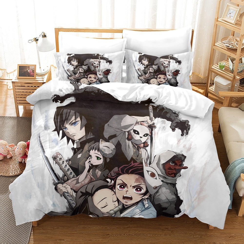 Anime Quilt Set 3D Printed Demon Slayer: Kimetsu no Yaiba Bedding Set Quilt Cover Pillowcase Sheet Single Double