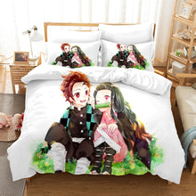 Load image into Gallery viewer, Anime Quilt Set 3D Printed Demon Slayer: Kimetsu no Yaiba Bedding Set Quilt Cover Pillowcase Sheet Single Double