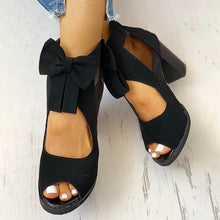 Load image into Gallery viewer, Autumn Fashion Peep Toe Mesh Insert Bowknot Chunky Heeled Sandals