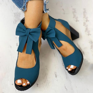 Autumn Fashion Peep Toe Mesh Insert Bowknot Chunky Heeled Sandals