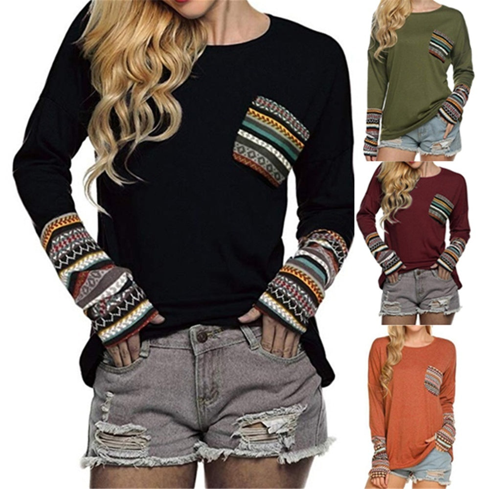 Women Casual Round Neck Long Sleeves Plus Size T-Shirt Splicing Printed Pocket Loose Knit Sweater