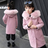 2020 Autumn Winter Girls Fashion Thickening Large Fur Collar Wool Coat Long Jacket Tops Pink Wool Coat Kids Clothes