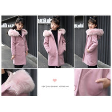 Load image into Gallery viewer, 2020 Autumn Winter Girls Fashion Thickening Large Fur Collar Wool Coat Long Jacket Tops Pink Wool Coat Kids Clothes