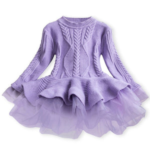 Girls Dress Winter 2019 New Style Solid Color Chiffon Long Sleeve Sweater Knitted Warm Dress for Casual Birthday New Year Christmas