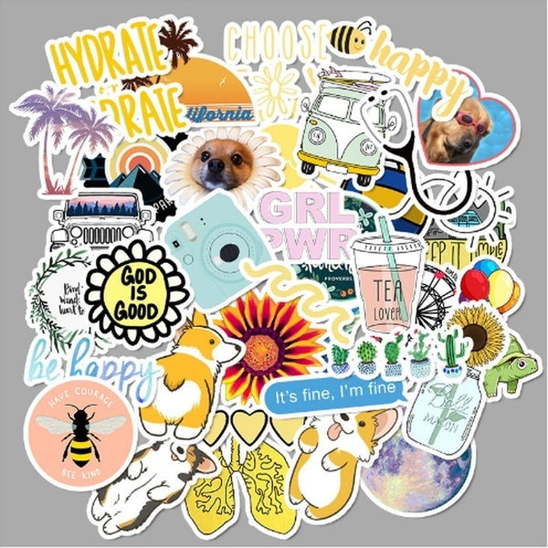 25/50Pcs/pack Cute/Yellow/Blue/Pink theme graffiti sticker pack For Moto car & suitcase cool laptop stickers Skateboard sticker