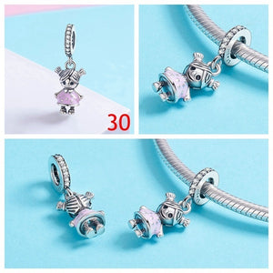 European Love Heart Cute Animals Beads Charm Women 925 Silver Plating Magic Witch Dream Catcher Pendant Charm for Charm Bracelet Diy Jewelry Making Accessories Halloween Christmas Charms