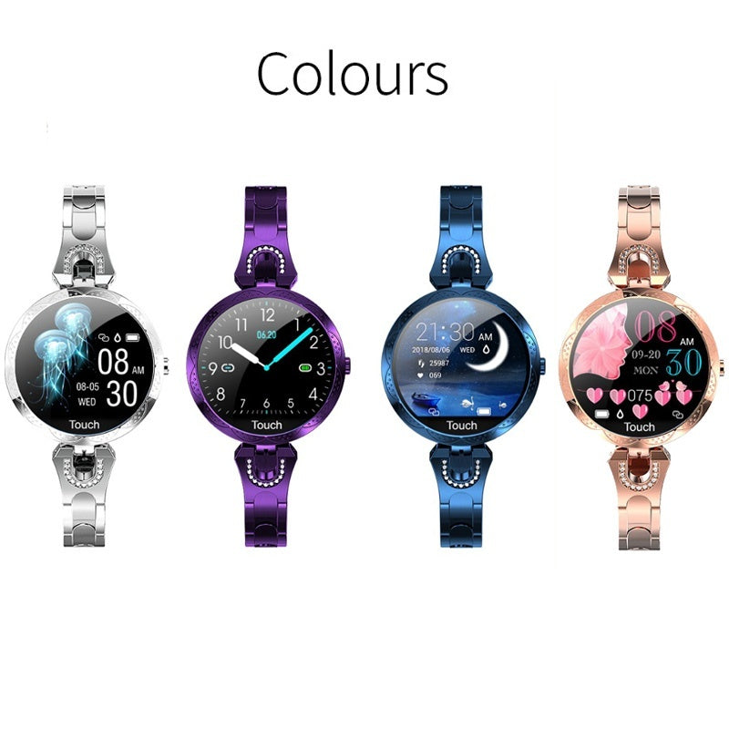 Smart Watch Women Luxury Newest Ladies Fashion Waterproof Smart Band Blood Pressure Heart Rate Bluetooth Fitness Tracker Bracelet Smartwatch for Iphone Android Blue Gold Silver Purple