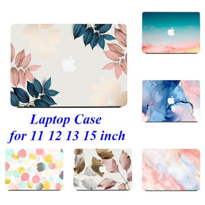 2in1 Modern Leaf Marble Pattern Hard Case + Botoom Cover For Macbook Air Pro 11 12 13 15 ''