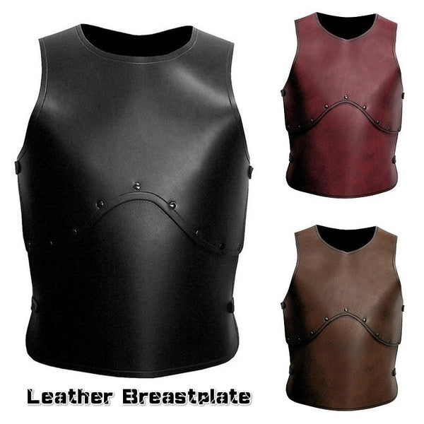 Steampunk Medieval Assassin Leather Breastplate Vintage Spartacus Leather Armor with Back Adjustable Buckle Straps Renaissance Gladiator Warrior Leather Armour Fashion Handmade LARP Cosplay Props Accessories