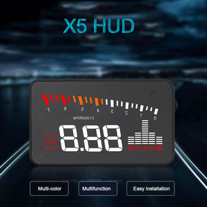 New Hot X5 Car HUD Head Up Display OBD II EOBD Automatic Matching Overspeed Warning System Projector Windshield Car Voltage Speed Alarm