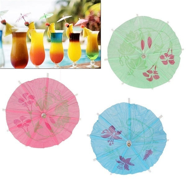 40pcs Paper Cocktail Parasols Umbrellas Party Wedding Supplies Luau Drink Stick