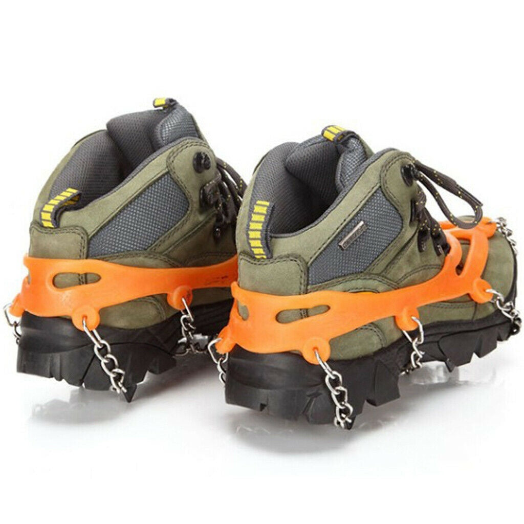 2020 New Winter Snow Ice Shoe Boot Spikes Grips Cleats Crampons Chain Anti Slip Hiking Chain Snow Walking Climbing Playing Hiking Fishing Hunting