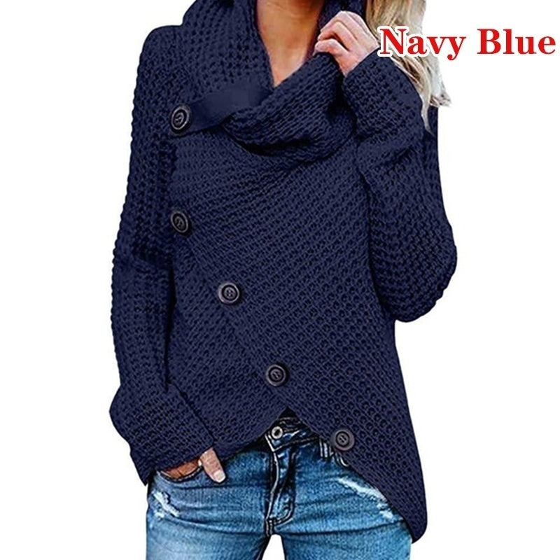 Ladies Irregular Pullover Sweater Casual Solid Color Long Sleeve Shirts Plus Size Personality Tops
