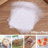 100pcs/bag Transparent Baking Biscuits Cookie Packing Bags Party Candy Dessert Package Bags Party Supplies