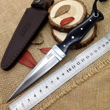 8.7 '' EDC fixed blade knife AUS10A Blade ebony Handle Leather Sheath Outdoor survival Hunting Bayonet Blade Knives