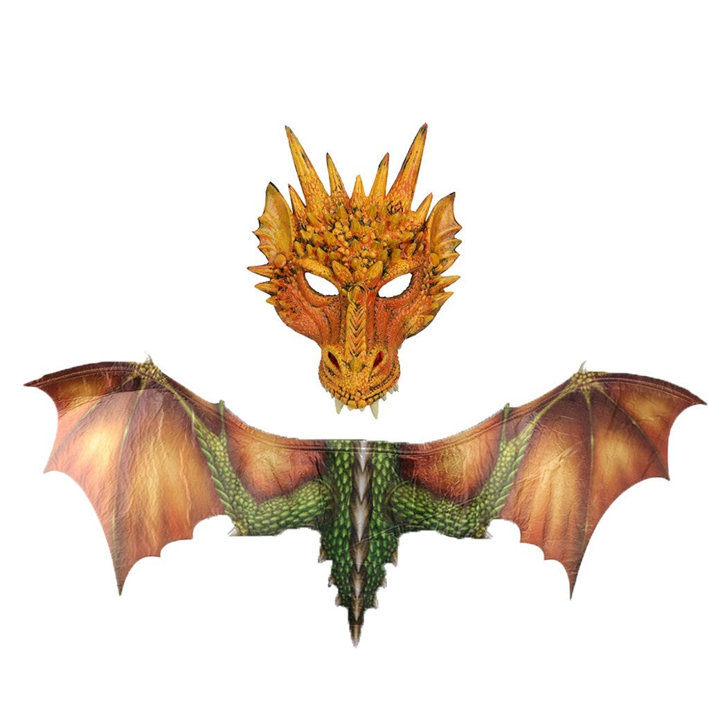 CLOVERLEAF 6 Colors!!!!!FANTASTIC Cosplay Wings & Dragon Mask Halloween Prop Dinosaurio Dragon Costume Cosplay Animal Wing Mask Accessory