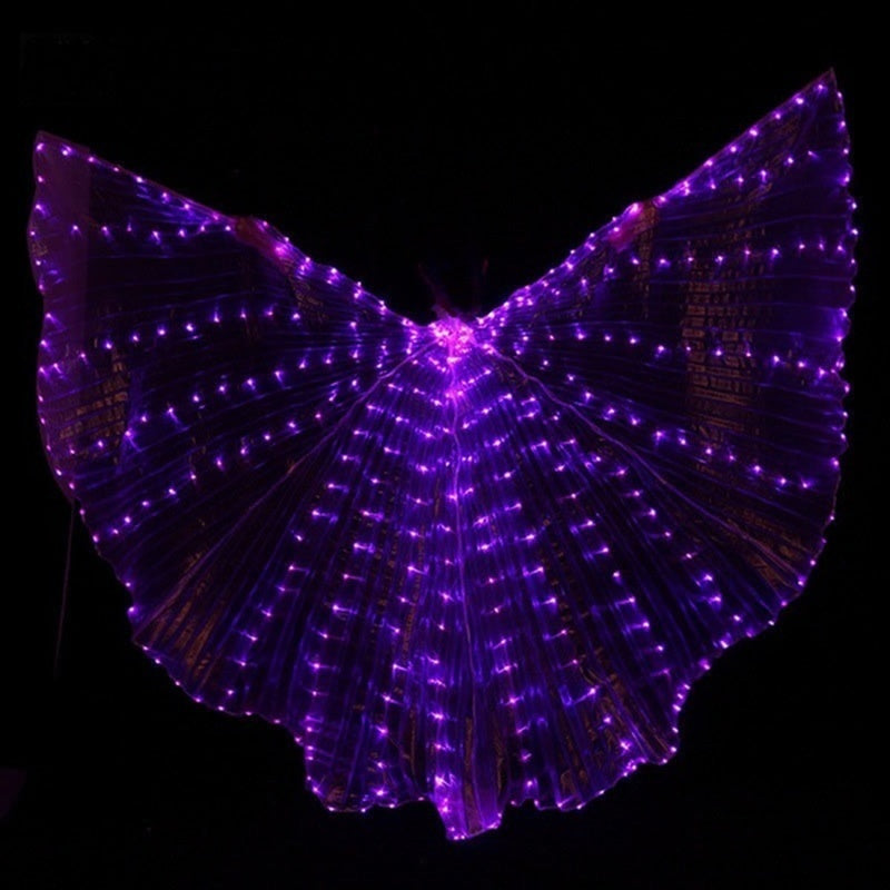 Wings Glow Light Up Belly Dance Club Costumes Sticks Bag Performance Clothing