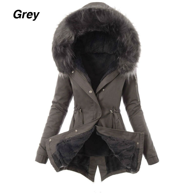 Women Winter Warm Coat Long Sleeve Hooded Jacket with Fur Hood Ladies Fashion Thickening Parka Coat