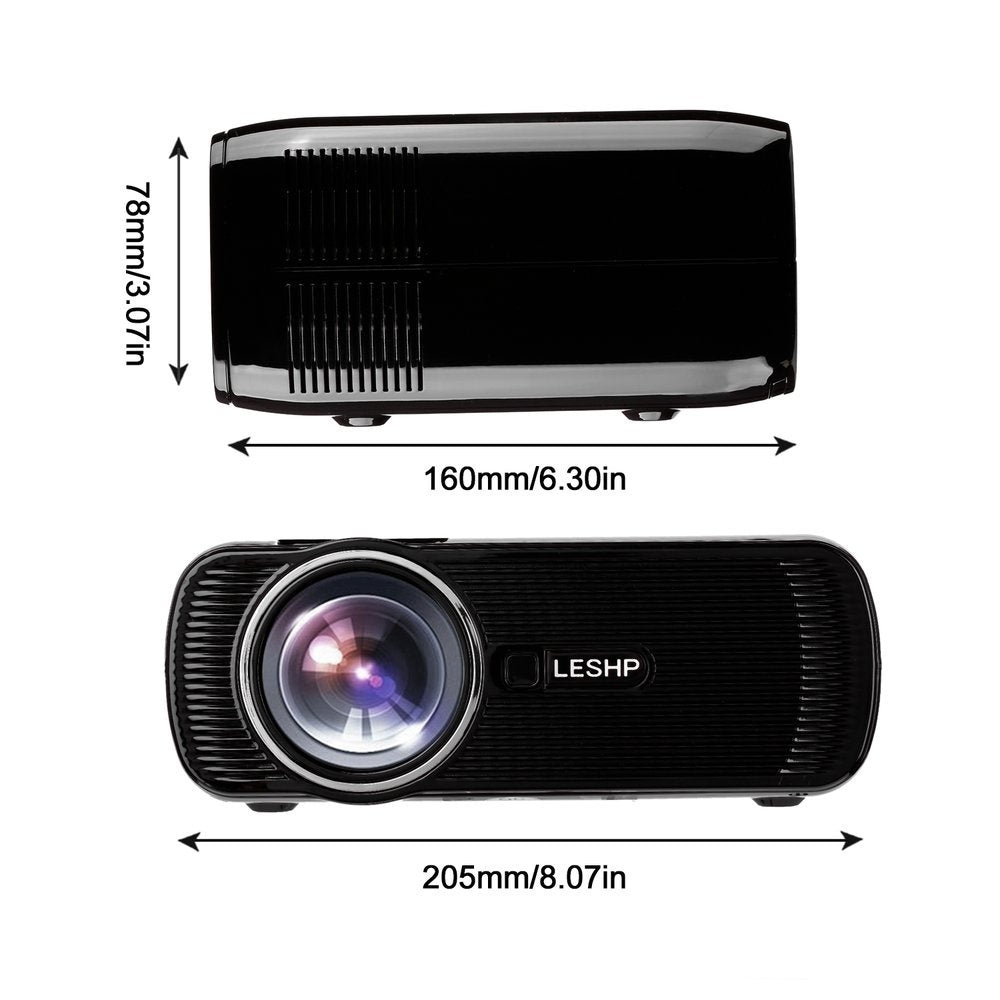 LESHP Portable Multi-media LED Video Projector 1080P HD 1200 LM with Keystone for Office Home Cinema Theater TV Game 1000:1 IN