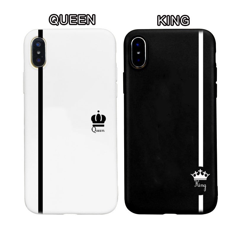 Fashion Queen King Lover Phone Case Soft Phone Cover for Iphone for Iphone 8 8plus IPhone XR XS XSMAX Iphone 6/6S Plus 7/7 Plus Couple's Phone Cases Queen Coque Concha