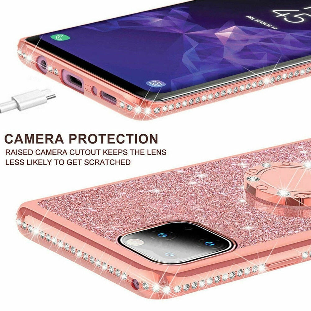 Phone Case For iPhone 11 11PRO Pro Max 2019,Glitter Sparkle Bling Kickstand Ring Phone Cover For iPhone Xs Max XR 6 7 8 Plus