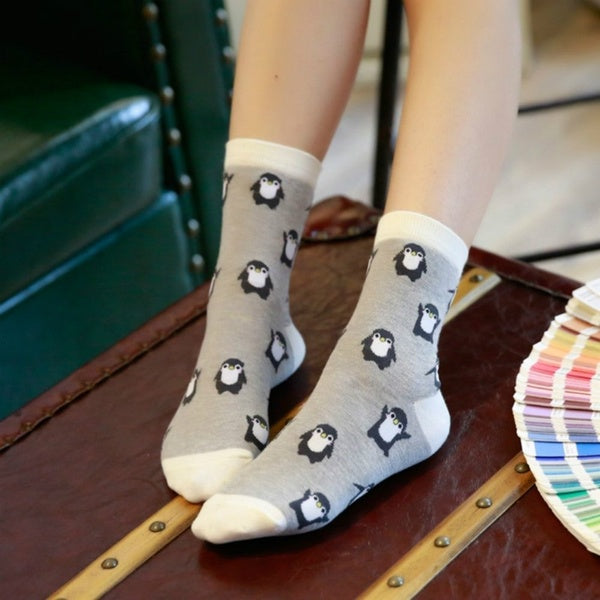 Winter Autumn Warm Knitted Cotton Penguim Socks Breathable Elastic Casual Sport Socks Cartoon Socks