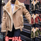 4 Colors Fashion Men Winter Cashmere Padded Suede Coat Vintage Man Thicken Parkas Motorcycle Jackets Pullovers Plus Size