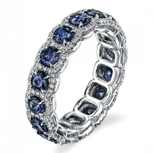 Fashion Women's Luxury Wedding 925 Silver Red / Blue Crystal Gemstone Ring Jewelry