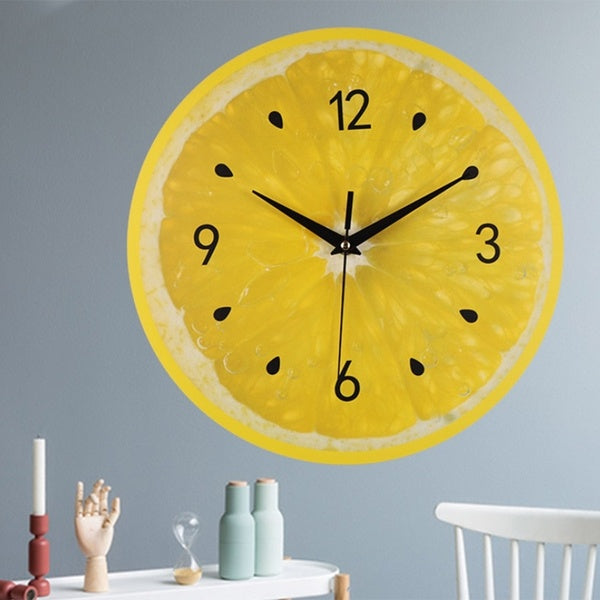 Lemon Fruit Wall Clock Lime Modern Kitchen Clocks Home Decor Living Room Clock Tropical Fruit Wall Art Clock