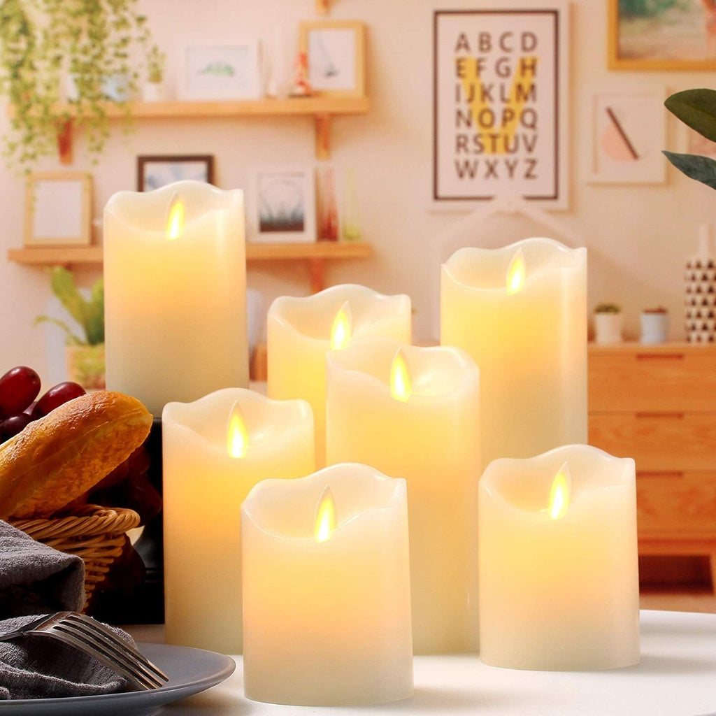 Flameless Candles Flickering LED Candles Ivory Real Wax Pillar Battery Operated Candles with Dancing LED Flame &10-Key Remote and Cycling 24 Hours Timer