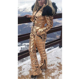 Winter Women Fashion Onesies Elastic Waist Zipper Ski Suit Snowboard Skisuit Snowsuit Outwear Hoodie Outdoor Sports Outdoor Ski Wear  Fur Collar Coat Hooded  Jumpsuit   Plus Size