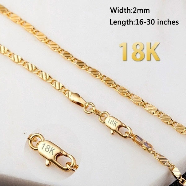 16-30 Inches Fashion Luxury Exquisite Men's Women's Fashion Solid 18k Gold Chain Necklace Bride Wedding Engagement High Jewelry